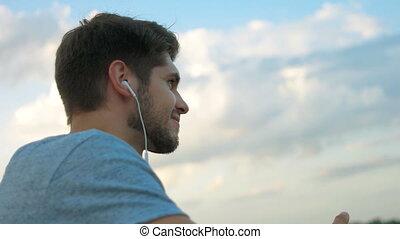 boldog, music., kihallgatás, ember