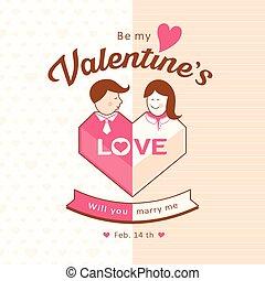 boldog, nő, Nap, ember,  valentine's