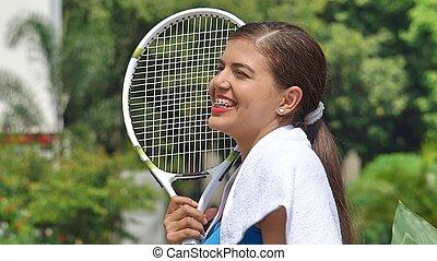 boldog, női tízenéves kor, teniszjátékos