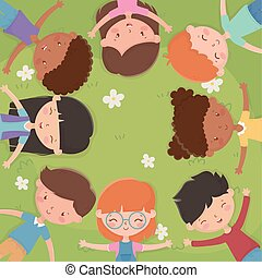 boldog, nap, mező, childrens, fekvő, fű, gyerekek
