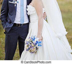 boldog, newlywed, fiatal, kaukázusi, párosít