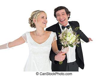 boldog, newlywed, párosít, birtok, csokor