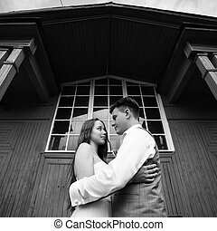 boldog, newlywed, párosít, having móka