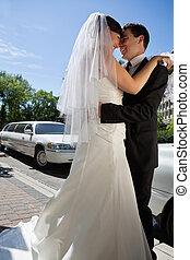boldog, newlywed, párosít