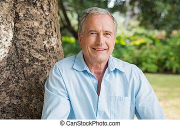 boldog, nyugdíjas, bábu ül, képben látható, fa, t