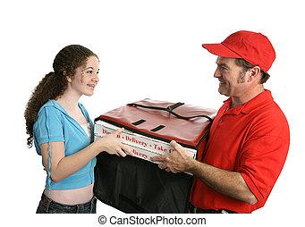 boldog, pizza, vásárló