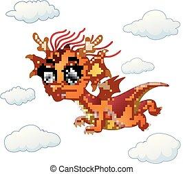 boldog, repülés, karikatúra, sárkány