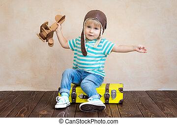boldog, repülőgép, játékszer, játék, gyermek