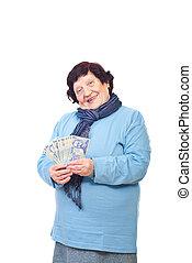 boldog, senior woman, birtok, román, készpénz