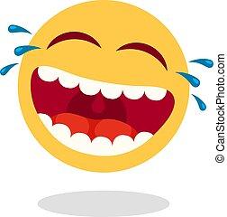 boldog, smiley, tears., arc, vektor, száj, nevető, nevet,...