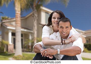 boldog, spanyol, young párosít, előtt, -eik, új családi