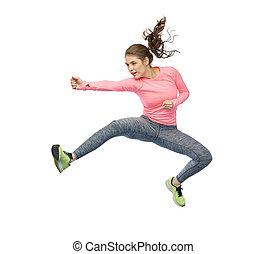 boldog, sportszerű, kisasszony, ugrál, küzdelem, póz
