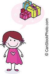 boldog, szórakozottan firkálgat, leány, noha, ajándékoz