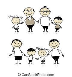 boldog, -, szülők, együtt, nagyszülők, család, gyerekek