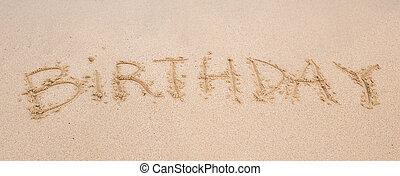 boldog születésnapot, írott, homok, tengerpart