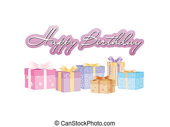 boldog születésnapot, aláír, noha, giftboxes