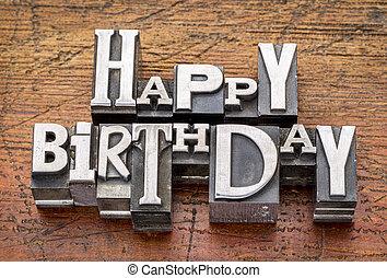 boldog születésnapot, alatt, fém, gépel
