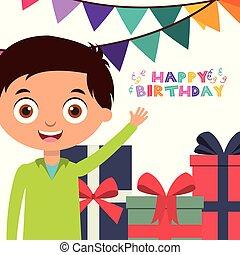 boldog születésnapot, kártya, gyerekek