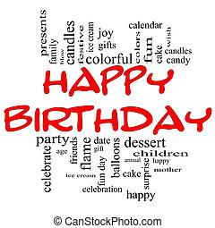 boldog születésnapot, szó, felhő, fogalom, alatt, piros, &, fekete