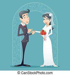 boldog, szüret, jelkép, lovász, ábra, menyasszony, vektor, tervezés, retro, női, mosolygós, hím, karikatúra, ikon
