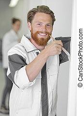 boldog, szobafestő, fényképezőgép, látszó, szobai
