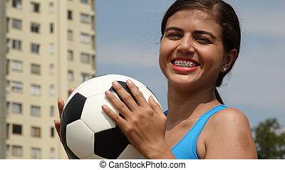 boldog, tízenéves kor, női, futball játékos
