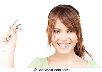 boldog, tízenéves lány, noha, kulcsok