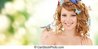 boldog, tízenéves lány, noha, pillangók, alatt, haj