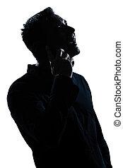 boldog, telefon, portré, ember, árnykép