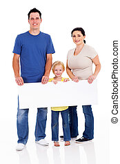 boldog, transzparens, család, fiatal