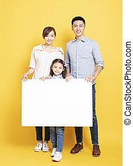 boldog, transzparens, hirdetés, család, tiszta