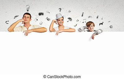 boldog, transzparens, young család, tiszta