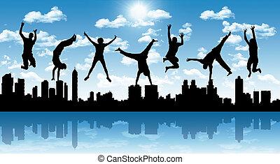 boldog, ugrás, emberek, noha, egy, város, árnykép