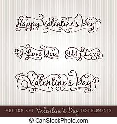 boldog, valentin nap, kéz, lettering.