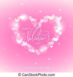 boldog, valentines nap, ünneplés, köszönés kártya, díszes, noha, bokeh, szív, alakzat.