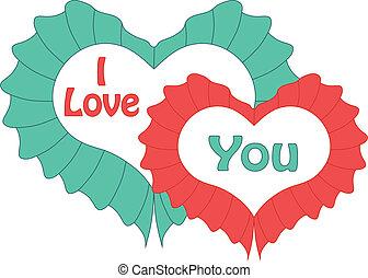 boldog, valentines nap, kártya, noha, heart., vektor