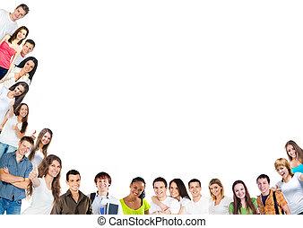 boldog, young emberek, csoport