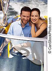 boldog, young párosít, élvez, lovagol, képben látható, -eik, jacht