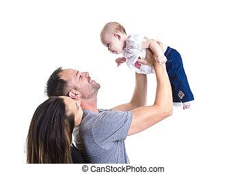 boldog, young párosít, birtok, egy, 3, hónapok, öreg, csecsemő