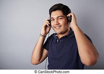 boldog, zene hallgat, ember