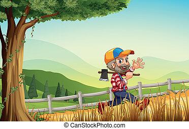 boldogan, woodman, gyalogló, hegy