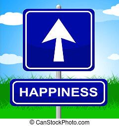 boldogság, aláír, jelez, nyílvesszö, hirdetés, és, pozitív