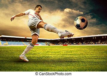 boldogság, foci játékos, után, gól, képben látható, a, mező,...