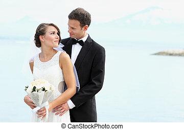 boldogság, közül, fiatal, newlywed, párosít