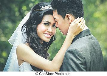 boldogság, közül, newlywed, párosít