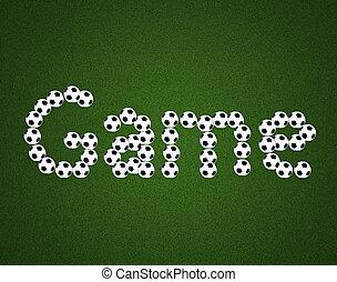 boldspil, meddelelse, på, soccer felt, centrum, og, bold, top udsigt, baggrund
