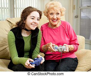 boldspil video, morskab, hos, bedstemor