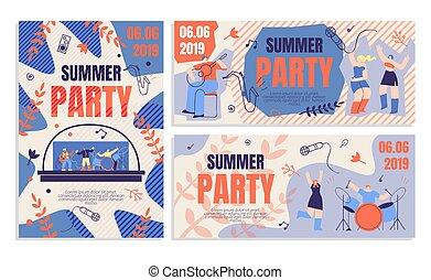 boleto, bandera, orden, aviador, invitación, verano, fiesta