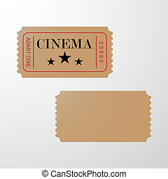 boleto, cine, ticket., blanco