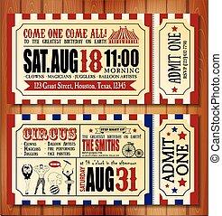 boleto, cumpleaños, circo, tarjeta